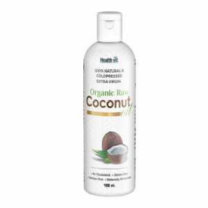 Healthvit 100% Natural & Cold pressed Extra Virgin Organic Raw Coconut Oil, 100ml
