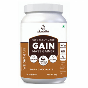 PlantVita Gain Mass Gainer For Weight Gain & Healthy Muscle, 1kg