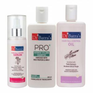 Dr Batra's Hair Fall Control Serum, 125ml & Pro+ Intense Volume Shampoo, 200ml With Hair Fall Control Oil, 200ml