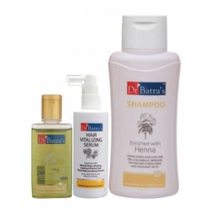 Dr Batra's Hair Vitalizing Serum, 125ml & Normal Shampoo, 500ml with Hair Oil, 100ml Combo Pack
