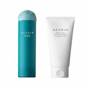 Accoje Hydrating Aqua Lotion + Vital in Jeju Purifing & Peeling Cleansing Foam, 280ml