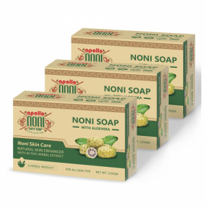 Apollo Noni With Aloevera Active Herbal Extract Soap, 125gm (Pack of 3)
