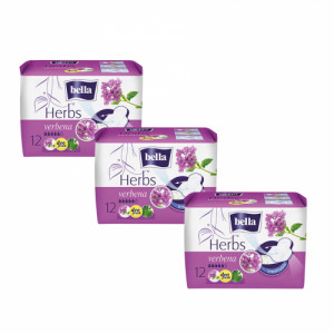 Bella Herbs Sanitary Pads With Verbena, 12 Pieces ( Pack Of 3)