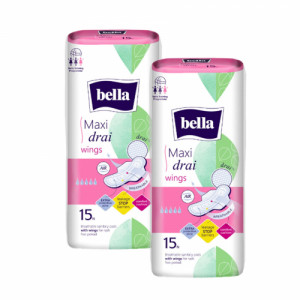 Bella Maxi Drai Wings Classic Sanitary Napkins, 15 Pieces ( Pack Of 2)
