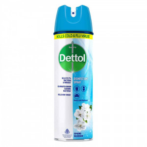 Dettol Disinfectant Spray - Spring Blossom, 170gm - 76.99% Absolute Alcohol - Kills Cold & Flu Virus