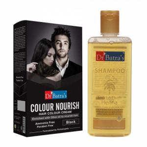 Dr Batra's Colour Nourish Hair Colour Cream (Black) With Normal Shampoo Combo Pack