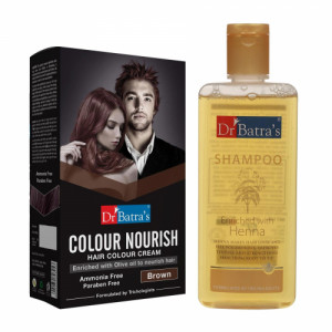 Dr Batra's Colour Nourish Hair Colour Cream (Brown) With Normal Shampoo Combo Pack