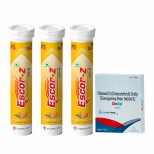 Escor-Z Effervescent Tablets, 60s with D3sip, 8 Orally Dissolving Films