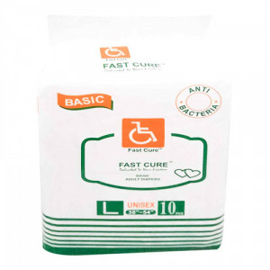 Fast Cure Basic Adult Diapers - Large, 10Pcs
