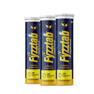 Fyzztab Electrolyte Recharge Lemon Flavour, 60 Tablets
