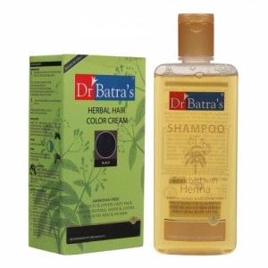 Dr Batra's Herbal Hair Color Cream (Black) With Normal Shampoo Combo Pack