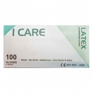 I-Care Latex Disposable Gloves (Medium), Pack of 100