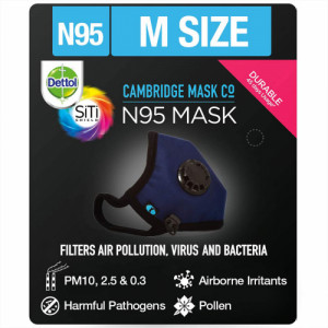 Dettol Cambridge Basic N95 Anti-Pollution Mask - Medium (Navy Blue)