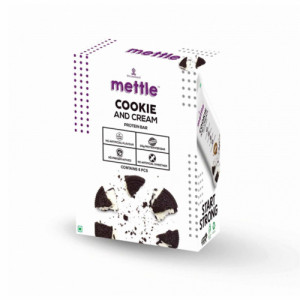 Mettle Cookies And Cream Protein Bar, 60gm (Pack Of 6)