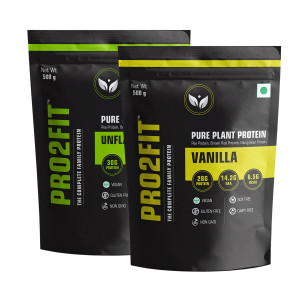 PRO2FIT Pure Plant Protein Unflavoured & Vanilla Flavour, 500gm (Pack Of 2)