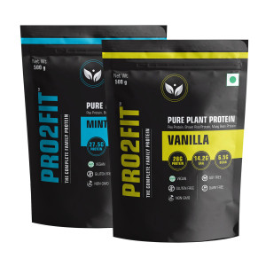 PRO2FIT Pure Plant Protein Vanilla & Minty Chocolate Flavour, 500gm (Pack Of 2)