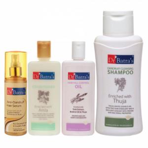 Dr Batra's Anti Dandruff Hair Serum, Conditioner, 200ml, Hair Fall Control Oil, 200ml and Dandruff Cleansing Shampoo, 500ml