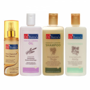 Dr Batra's Anti Dandruff Hair Serum, Conditioner, 200ml, Hair Fall Control Oil, 200ml and Dandruff Cleansing Shampoo, 200ml