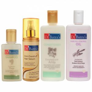 Dr Batra's Anti Dandruff Hair Serum, Conditioner, 200ml, Hair Fall Control Oil, 200ml and Dandruff Cleansing Shampoo, 100ml