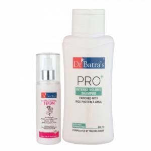 Dr Batra's Hair Fall Control Serum, 125ml With Pro+ Intense Volume Shampoo, 500ml Combo Pack