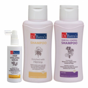 Dr Batra's Hair Vitalizing Serum, 125ml, Hair Fall Control Shampoo, 500ml With Normal Shampoo, 500ml Combo Pack