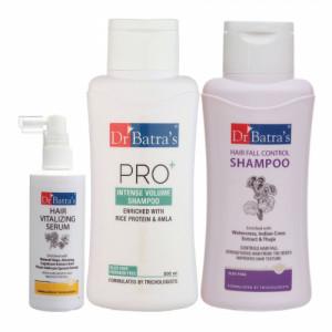 Dr Batra's Hair Vitalizing Serum, 125ml, Hair Fall Control Shampoo, 500ml With Pro+ Intense Volume Shampoo, 500ml Combo Pack
