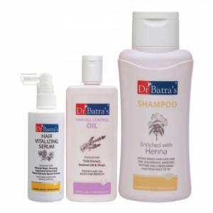 Dr Batra's Hair Vitalizing Serum, 125ml & Dandruff Cleansing Shampoo, 500ml with Hair Fall Control Oil, 200ml Combo Pack