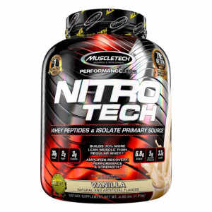 Muscletech Nitro Tech Whey Isolate + Peptides Protein Powder Vanilla, 1.81kg
