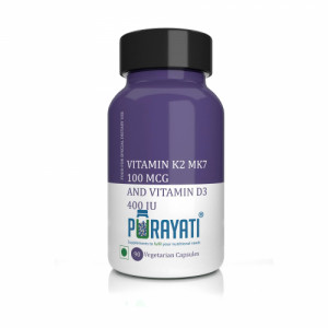 Purayati Vitamin K2 Mk7 100 Mcg and Vitamin D3 400 IU, 90 Capsules