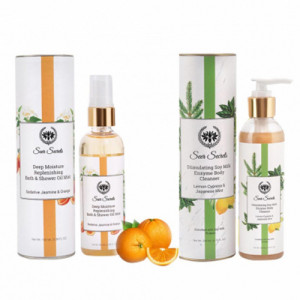 Seer Secrets Sedative Jasmine & Orange Shower Oil + Stimulating Soy Milk Enzyme Body Cleanser Combo Pack