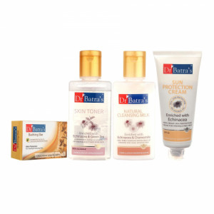 Dr Batra's Skin Toner, Natural Cleansing Milk, Sun Protection and Skin Protection Bathing Bar Combo Pack