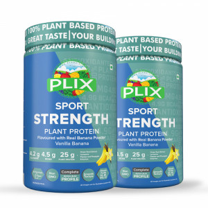 Plix Sport Strength Vegan Post Workout Vanilla Banana Protein Powder, 2kg
