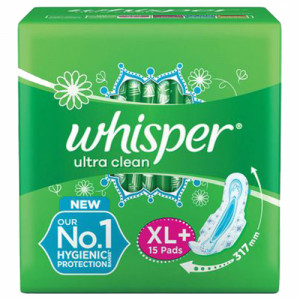 Whisper Ultra Clean Sanitary Pads Xl+, 15 Pieces
