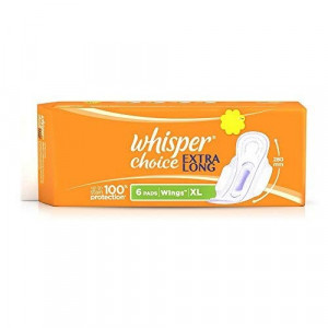 Whisper Choice Extra Long XL Wings Sanitary Pads, 6 Pieces