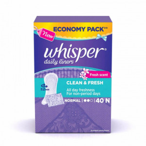 Whisper Clean and Fresh Daily Liners, Normal  20 Pieces