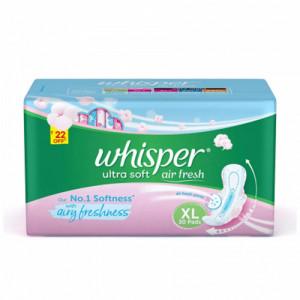 Whisper Ultra Soft Air fresh Sanitary Pads XL, 30 Pieces