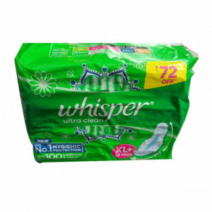 Whisper UltraClean Sanitary Pads - XL, 50 Pieces