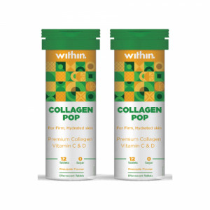 Within Collagen Pop Effervescent, 12 Tablets - Pineapple Flavour (Pack Of 2)